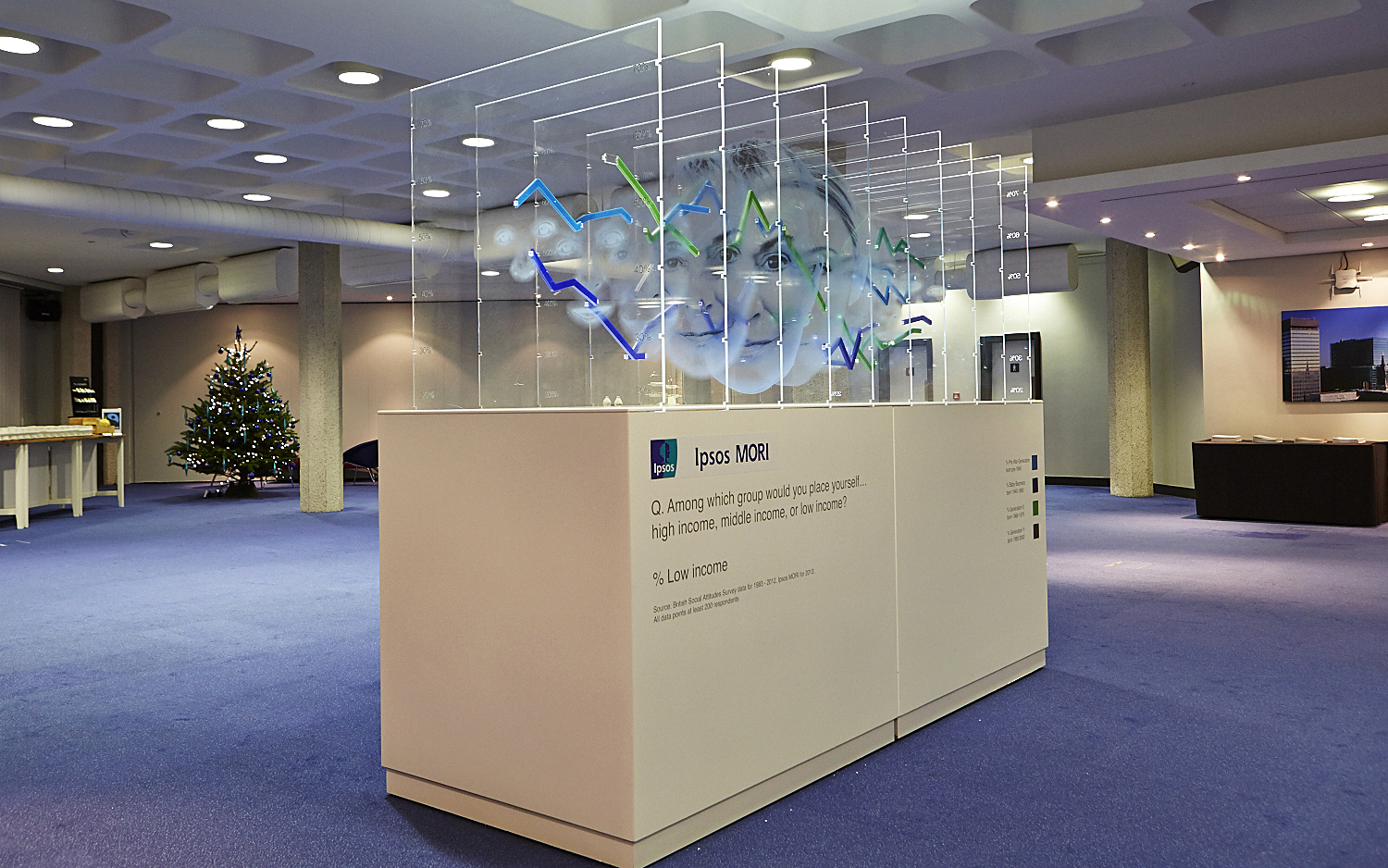 Ipsos Mori large scale installation of 3D statistical graph