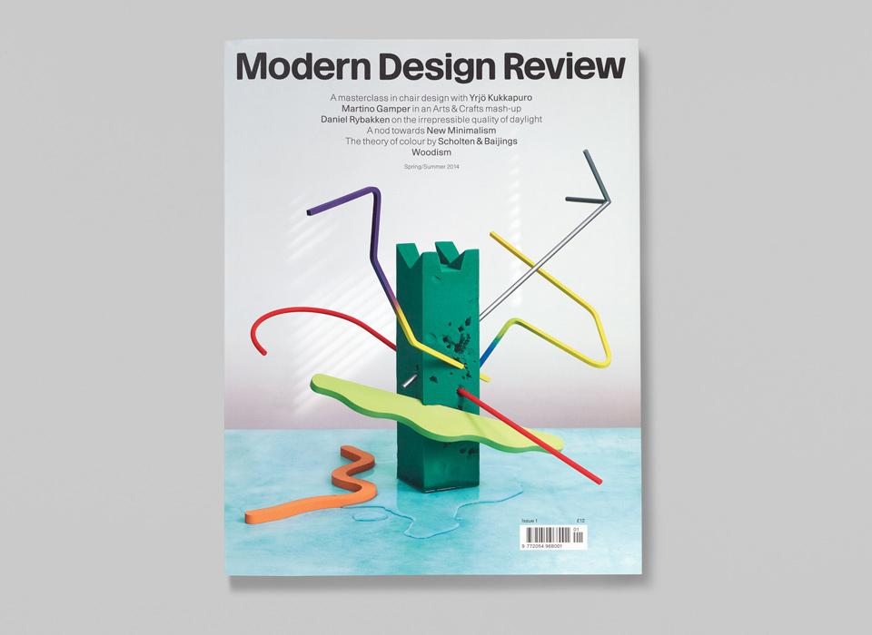 A picture of Modern Design Review magazin cover of issue one with props made by Chalk Studios