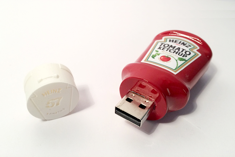 Custom Heinz Ketchup minature USBs with vinyl stickers