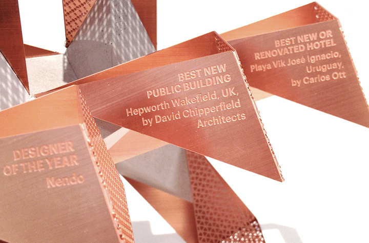 Wallpaper design award trophies made from brass etchings by Chalk Studios